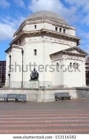 Birmingham in West Midlands, England. Famous Centenary Square and Hall of Memory. - stock photo