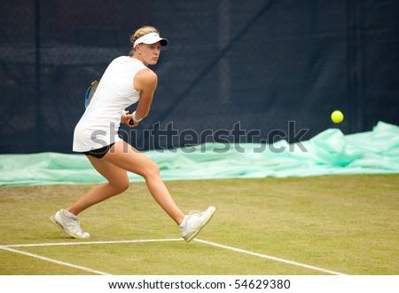 BIRMINGHAM - JUNE 6: A Riske (USA) in the Aegon Classic women's tennis tournament on June 6, 2010 in Edgbaston, Birmingham, England. - stock photo