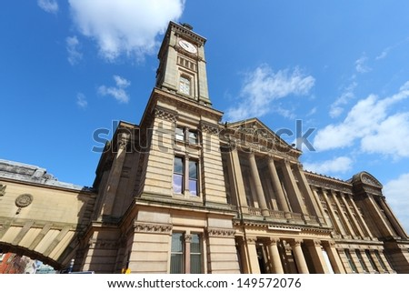 Birmingham - Museum and Art Gallery with famous Big Brum clock tower. West Midlands, England. - stock photo