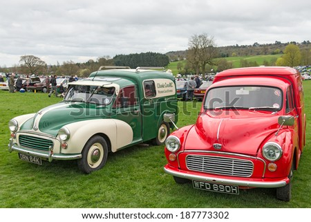 BIRMINGHAM,UK-APRIL12 2014 : Austin and Morris vans on display at the annual Pride of Longbridge meeting on April 12 2014 in Birmingham, UK. Any vehicle that was made at Longbridge can be displayed. - stock photo
