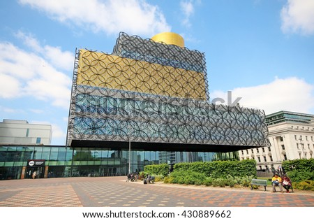 BIRMINGHAM, UK - JUNE 2 2016: The new Birmingham Library. Birmingham metropolitan area is the 2nd most populous in the UK with 3.7 million people. - stock photo