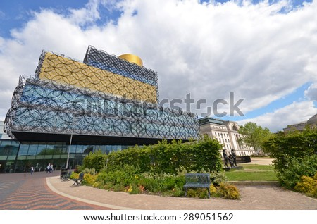 Birmingham, UK - June 9: view of the new library in Centenary Square in Birmingham, UK on June 9, 2015. The library attracts thousands of visitors annually.  - stock photo