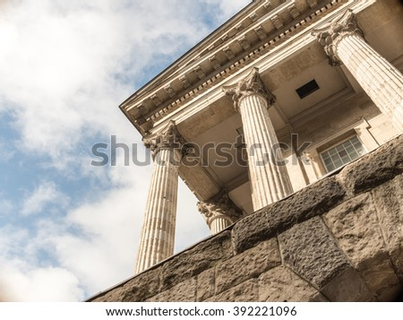 BIRMINGHAM, UK - MARCH 5 2016: Close-up of Town Hall neo-classical building - stock photo
