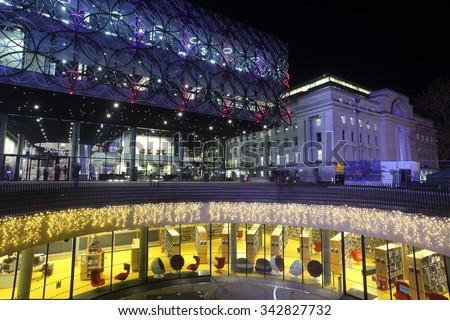 Birmingham, UK - 22 November 2015: The Library of Birmingham was rebuilt as a city landmark. - stock photo