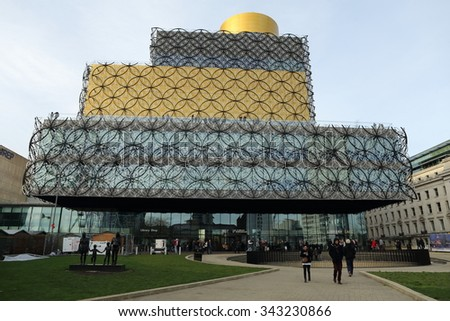 Birmingham, UK - November 22 2015: The New Library of Birmingham is a cultural landmark for the city.  - stock photo
