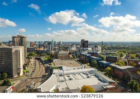 BIRMINGHAM, WEST MIDLANDS, UK - NOVEMBER 25, 2016: Aerial view of Birmingham city center. Birmingham is the Britain's second city.