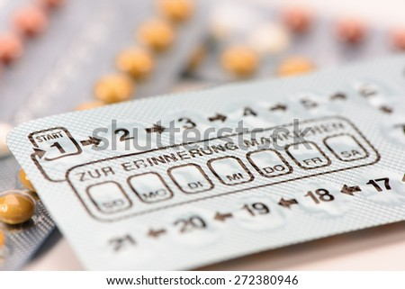 birth control pills in box - stock photo