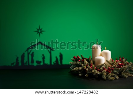 Birth Jesus silhouette of the crib in Bethlehem - stock photo