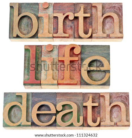 birth, life, and death - isolated words in vintage letterpress wood type stained by color inks