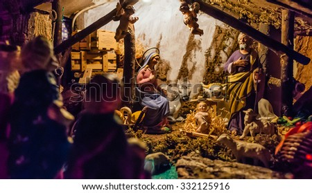 "Birth of Jesus in the manger in a typical italian ""Presepe"" - stock photo"