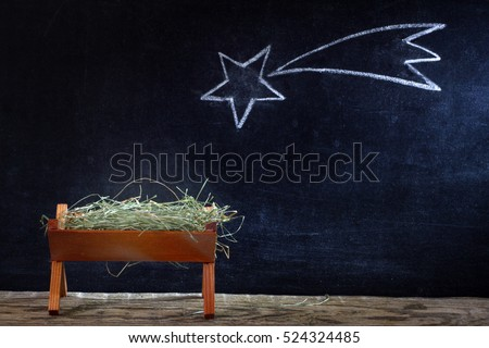 Birth Jesus Manger Star On Blackboard Stock Photo