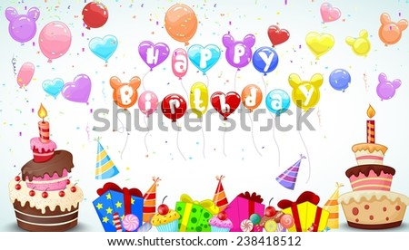 Birthday background with colorful balloon and birthday cake - stock photo