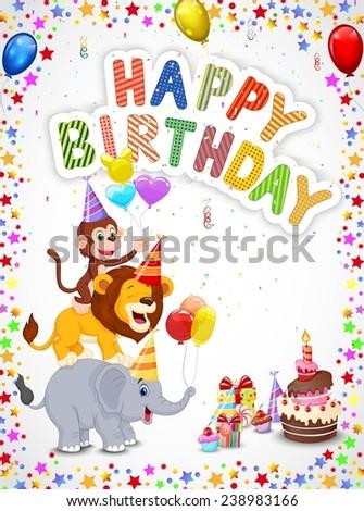 Birthday background with happy animals - stock photo