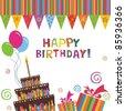 birthday cake card - stock photo