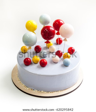 Birthday Cake Covered Light Blue Glaze Stock Photo Royalty Free
