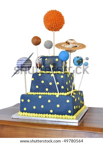 Birthday cake decorated with all the planets of the solar system - stock photo