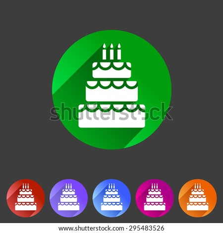 Birthday cake flat icon web sign symbol logo label set