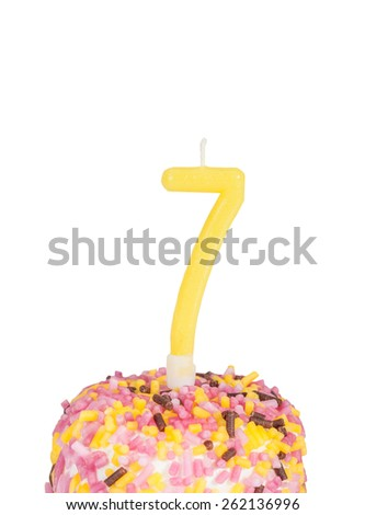 birthday cake for age 7 (isolated over white) - stock photo