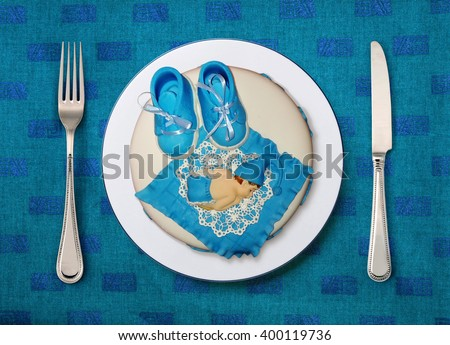 birthday cake for any males special day - stock photo