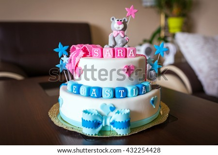 Birthday Cake Images Baby ~ Birthday cake baby boy girl twins stock photo edit now shutterstock