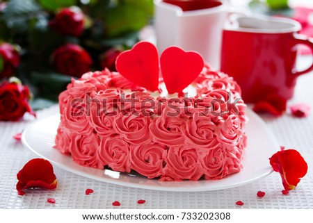 Birthday Cake Valentines Day Roses Stock Photo Download Now