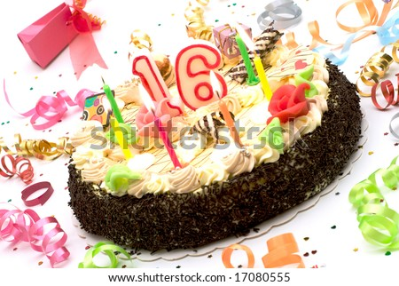 birthday cake for 16 years jubilee surrounded by streamers and gift boxes on white background - stock photo