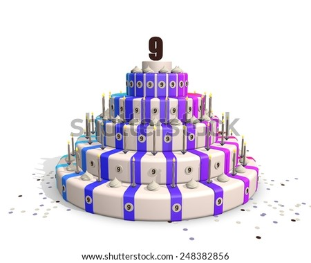 Birthday cake, happy colors, candles and confetti. Number on 9 top - stock photo
