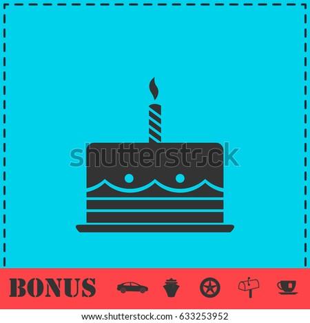 Birthday Cake Icon Flat Simple Illustration Stock Illustration
