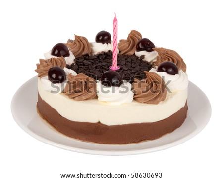 Birthday cake isolated on white background - stock photo