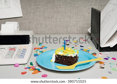 Birthday Cake On Office Desk Stock Photo Royalty Free 380751025