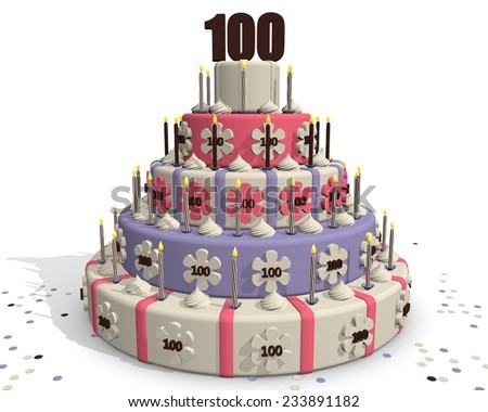 Birthday cake or cake for an anniversary - hundred years - stock photo