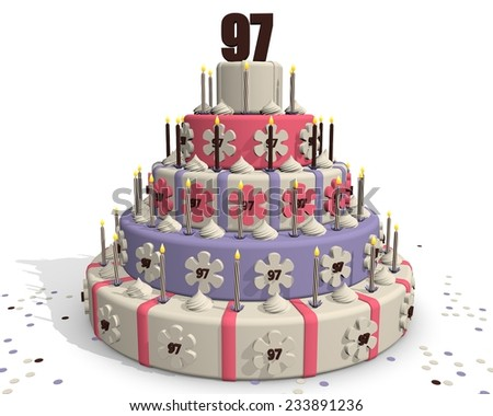 Birthday cake or cake for an anniversary - 97 years - stock photo