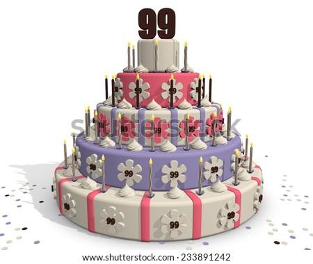 Birthday cake or cake for an anniversary - 99 years - stock photo
