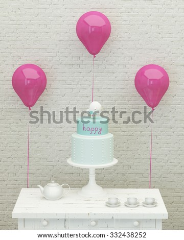 birthday cake,pink ballons and presents for girl party on the background of brick wall, 3d render - stock photo