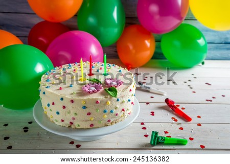 Birthday cake ready to  for a party - stock photo
