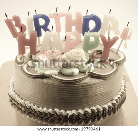 birthday cake ( retro color ) - stock photo