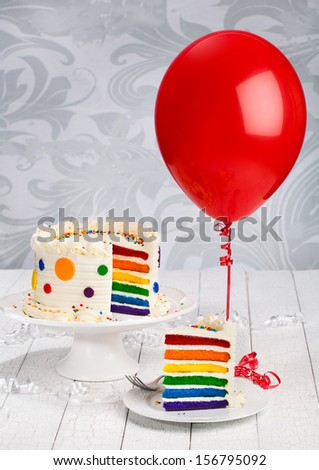 Birthday Cake with Balloon - stock photo