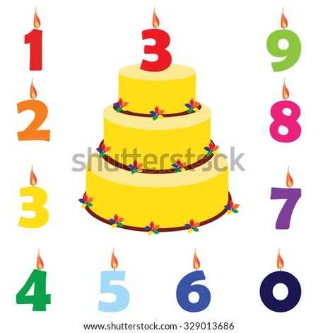 Birthday cake with birthday candles numbers one, two, three, four, five, six, seven, eight, nine, zero, raster set - stock photo