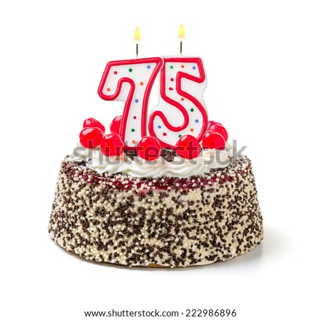 Birthday cake with burning candle number 75 - stock photo