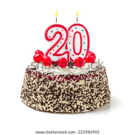 Birthday cake with burning candle number 20 - stock photo