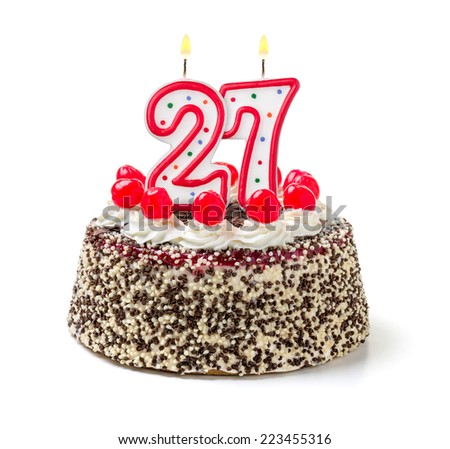 Birthday cake with burning candle number 27 - stock photo