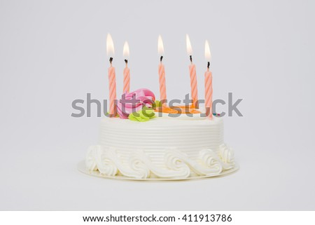 Birthday cake with candles  isolated on white background - stock photo