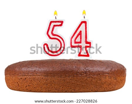 birthday cake with candles number 54 isolated on white background