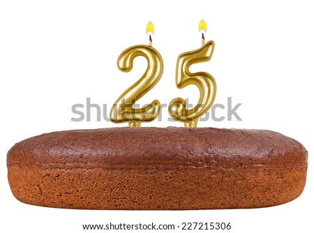 birthday cake with candles number 25 isolated on white background - stock photo