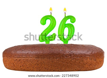 birthday cake with candles number 26 isolated on white background - stock photo