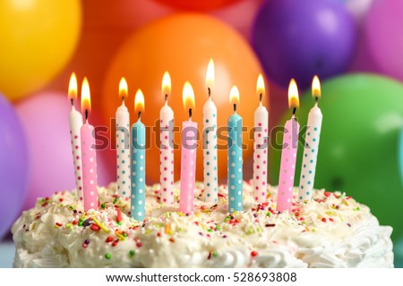 Birthday Cake Balloons Images ~ Birthday cake candles on balloons background stock photo royalty