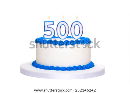 Birthday cake with candles reading 500 - stock photo