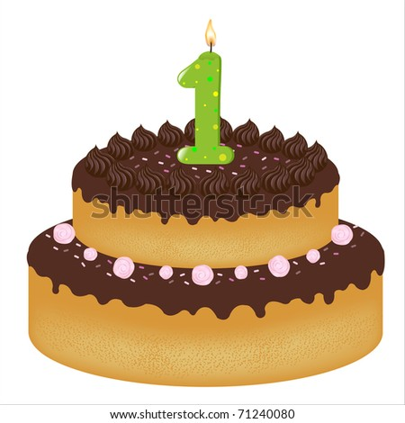 Birthday Cake With Candles Number One Isolated On White Background