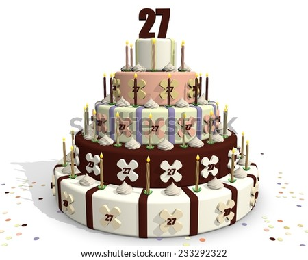 Birthday cake, with chocolate and cream, celebrating an anniversary. On top of the cake number twenty-seven - stock photo