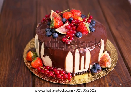 Birthday Cake Cream Chocolate Fresh Fruit Stock Photo Image